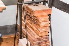 Old cigar press made of wood Stock Photo