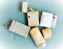 Old cigarette lighters Stock Photography