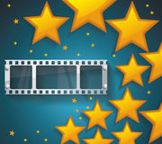 Old Cinema banner with gold stars and film tape. Vector cinema background Royalty Free Stock Photos
