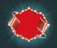 Old Cinema banner with stripe roll. Vector background. Stock Image