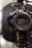 Old cinema camera lense close up Royalty Free Stock Photos