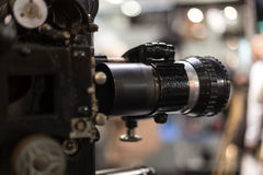 Old cinema camera lense close up Royalty Free Stock Photo