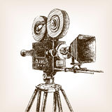 Old cinema camera sketch style vector illustration Stock Images