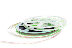 Old cinema film 16 mm. On white background stock photography