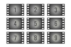 Old cinema film countdown movie frames with numbers vector set. Reverse the sequence count illustration Stock Photo