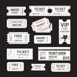 Old cinema tickets for cinema. Eps10 vector illustration. Isolated on black background Stock Photography