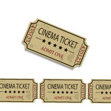 Old cinema tickets. F vector illustration.  on white background Royalty Free Stock Image