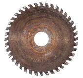 Old circular saw blade for wood work isolated Royalty Free Stock Photo
