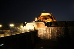 Old citadel in Corfu Town (Greece) at night Royalty Free Stock Photos