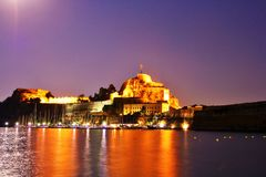 Old citadel in Corfu Town (Greece) at night. Old citadel (Palaio Frourio in Greek) in Corfu Town (Greece) at night. It is an old Venetian fortress built on an Royalty Free Stock Photo