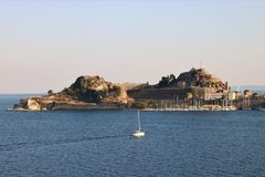 Old citadel in Corfu Town Greece. Old citadel Palaio Frourio in Greek in Corfu Town Greece. It is an old Venetian fortress built on an artificial islet with Stock Image