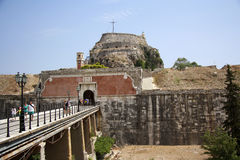 Old citadel in Corfu Town (Greece). Old citadel (Palaio Frourio in Greek) in Corfu Town (Greece). It is an old Venetian fortress built on an artificial islet Royalty Free Stock Photos