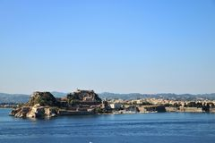 Old citadel in Corfu Town Greece. Old citadel Palaio Frourio in Greek in Corfu Town Greece. It is an old Venetian fortress built on an artificial islet with Royalty Free Stock Images