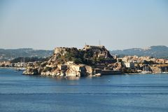 Old citadel in Corfu Town Greece. Old citadel Palaio Frourio in Greek in Corfu Town Greece. It is an old Venetian fortress built on an artificial islet with Royalty Free Stock Photos