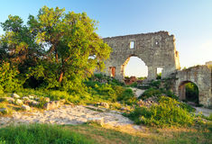 Old citadel ruins on sky background. Royalty Free Stock Photography