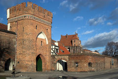 Old Citizen Court and Bridge G. Ate in Torun (the mediaeval town listed among the UNESCO World Heritage Sites royalty free stock images