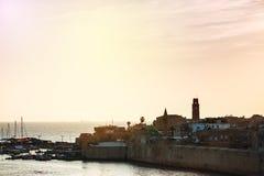 Old city of Akko at the sunset Stock Photos