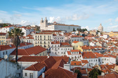 Old city from Alfama at dusk, Lisbon, Portugal Stock Images