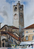 Old city alta citta downtown of Bergamo, Italy, famouse bell tower. And architectural ansamble with fountain, original watercolor painting Royalty Free Stock Images