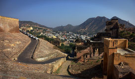 Old City Amer Fort. This old city (Amer Fort)  is Located high on a hill, it is the principal tourist attractions in the Jaipur area Stock Photos