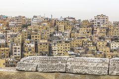 Old city of Amman. Typical view of the old city of Amman in Jordan, seen from the citadel atop Jabal Al Qal'a stock photography