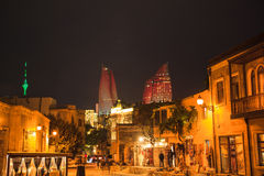 Old City of Baku. The view of Old City of Baku with The Flame Towers, Azerbaijan royalty free stock image