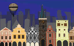 Old city with balloon Stock Photography