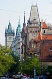 City landscape. Prague, Czech Republic. Old city. Beautiful medieval buildings with turrets Royalty Free Stock Image