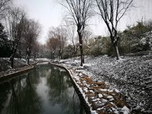An old city being covered with snow. Jiaxing city being covered with snow and showing another beauty you seldom seeing Stock Image