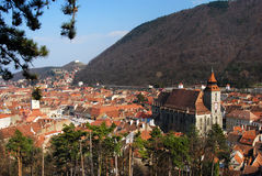Old city of Brasov, Romania. Center of the old town of Brasov City (Transilvania, Romania). In background you can see Tampa mountain (955 m Stock Photography