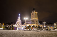 Old City of Brasov Town Hall on Christmas in Transylvania Region of Romania. Brasov old medieval town hall in Sfatului Square in a pedestrian area on a winter stock photos