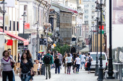 Old city Bucharest. Bucharest Old Town Spring, pedestrian area royalty free stock photography