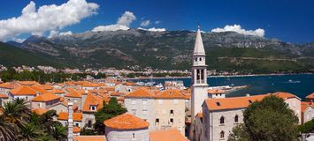 Old city, Budva. Panorama of old city in Budva, Montenegro Stock Images