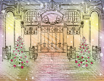 Old city cafe with Christmas decorations. Vector Old city cafe with Christmas decorations royalty free illustration