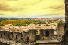 Old city Carcassone. At sunset Royalty Free Stock Image