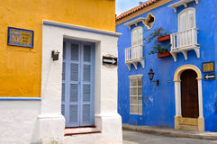 Old City of Cartagena, Colombia. Typical Colonial houses, San Diego Square in the Old City of Cartagena, Colombia Royalty Free Stock Images