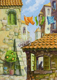 Old City Cats. The different cats at the various places of the old Mediterranean city - the narrow streets between the old stone buildings, the orange tiled roof vector illustration