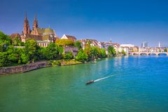 Old city center of Basel with Munster cathedral and the Rhine river, Switzerland. Europe. Basel is a city in northwestern Switzerland on the river Rhine and Stock Image