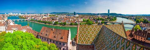 Old city center of Basel with Munster cathedral and the Rhine river, Switzerland, Europe. Basel is a city in northwestern Switzerland on the river Rhine and Stock Photos