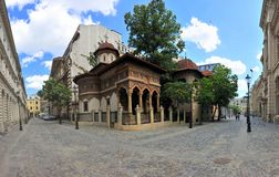 Old city center of Bucharest - Stavropoleos monastery Stock Photo