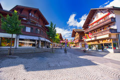 Old city center of Gstaad town, famous ski resort in canton Bern Stock Photo