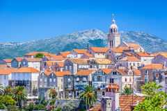 Old city center in Korcula, Croatia. Closeup view at architecture in old mediterranean place Korcula, Croatia Europe travel destination Royalty Free Stock Photography