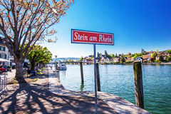 Old city center of Stein am Rhein willage with colorful old hous Royalty Free Stock Image