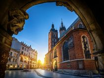 Old city view with St. Mary`s Basilica in Krakow, Poland. Night view royalty free stock photos