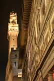Firenze, Tuscany, Italy. Renaissance and medieval architecture. The old city centre of Florence by night, renaissance and medieval architecture of Piazza della stock photos