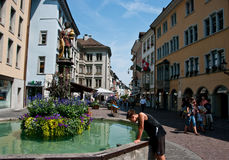 Tourists in Schaffhausen Stock Image