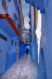 Old city of Chefchaouen. Streets of the old city of Chefchaouen, brightly blue walls of the Moroccan Medina. Arab architecture of North Africa stock photo