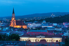 Old city of Cluj-Napoca night scene. Night cityscape with Cluj-Napoca, the European Youth Capital 2015 in Transylvania Romania Royalty Free Stock Photography