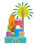 Old City. Colorful and stylized clip art of an old Middle Eastern city. Eps10 Stock Photos