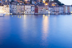 Old city core buildings in Rovinj at sunset Stock Photos